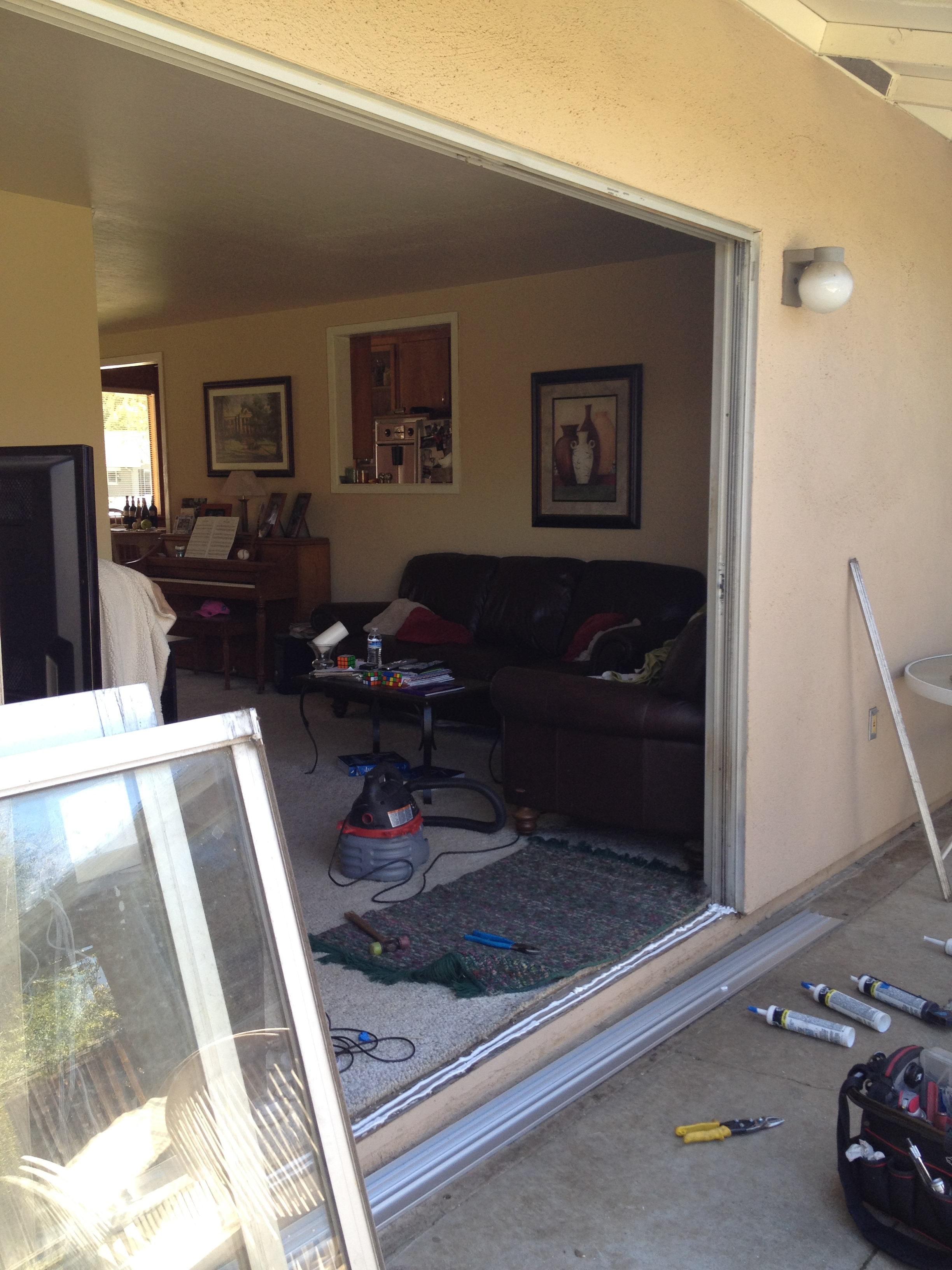 Removal Of Sliding Glass Door For Bottom Track Replacement Atherton
