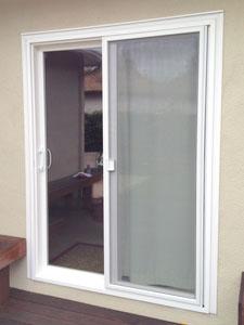 New vinyl sliding door installation complete.