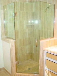 Frameless Glass Shower with Hinged Door