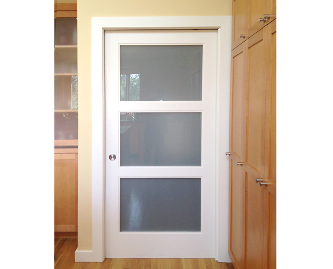 Pocket door simple i like this pocket door separating the for Pocket sliding glass doors